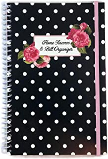Home Finance & Bill Organizer with Pockets (Black with Flowers & Dots)
