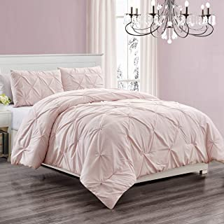 WPM 3 Piece Microfiber Comforter Set Pinch Pleat Pintuck Down Alternative Bedding - All Season Rose Blush Pink Bedroom Dec...