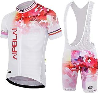 Aipeilai Men's Short Sleeve Cycling Suit Bike Bicycle Jersey and Bib Shorts Set