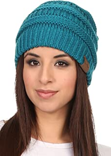 Vialumi Women's Solid Colored Knitted Warm Plush Beanie Cap