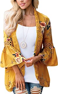 Women's S 3XL Floral Print Kimono Tops Cover Up Cardigans