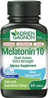 Adrien Gagnon - Melatonin 10mg, Dual Action Time Release Melatonin for Deep Sleep, Natural Sleep Aids for Adults Extra Str...