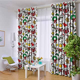 hengshu Christmas Decorations Collection Room Darkened Insulation Grommet Curtain Classical Christmas Inspirational Wreath Candy Cane Snowman Patterns Feast Decor Living Room W96 x 108 Inch Red White