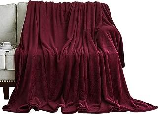 WONTEX Flannel Fleece Throw Blanket Super Soft Lightweightfor Couch, Burgundy, 50 x 60 inch