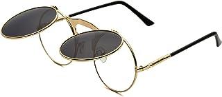 Round Retro Sunglasses Steampunk Sunglasses Flip Up Sunglasses for Men Women