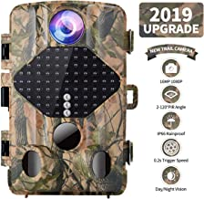 FUNSHION Trail Camera 16MP 1080P Wildlife Hunting Camera with 49 Infrared LEDs Night Vision up to 65ft,120° Wide Angle Lens,IP56 Waterproof and Faster 0.2s-0.6s Triggering Time (1)
