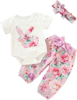 Aslaylme 3Pcs Outfit Set Baby Girls Bunny Floral Tops Pant Clothing Set