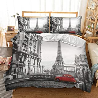 Feelyou Novelty Duvet Cover Set Queen Size Decorative Microfiber Polyester Bedding Set Paris Eiffel Tower Print Grey Famous City Scene Comforter Cover with 2 Pillow Shams, Zipper, Modern 3 Pieces