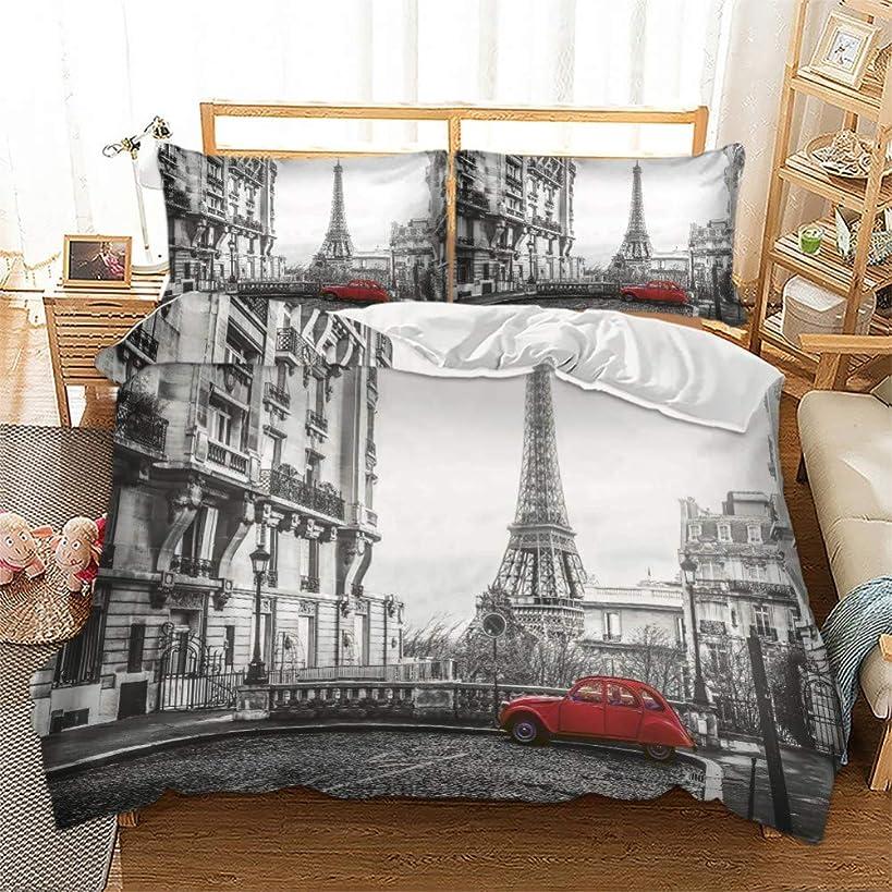 Feelyou Novelty Duvet Cover Set Queen Size Decorative Microfiber Polyester Bedding Set Paris Eiffel Tower Print Grey Famous City Scene Comforter Cover with 2 Pillow Shams, Zipper, Modern 3 Pieces