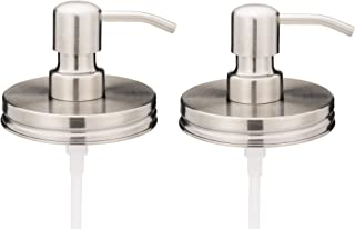 Jarmazing Products Wide Mouth Stainless Steel Mason Jar Soap Dispenser Lids - Two Pack - for All Wide Mouth Canning Jars