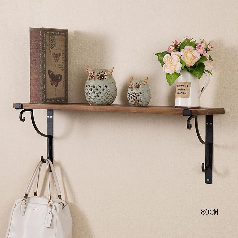 Decorative Accessories Wall Racks European Solid Wood Wall Pylons Creative Simple Bookshelves Floating Shelves (Size   80 cm)