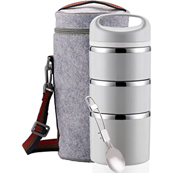 Lille Home Stackable Stainless Steel Thermal Compartment Lunch/Snack Box, 3-Tier Insulated Bento/Food Container with Lunch Bag & Foldable Spoon, Smart Diet, Weight Control (Grey)