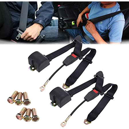 MUCO 3 Point Seat Safety Belt Adjustable for Trucks,Forklifts,Buses,Karts,Cars 2kit Universal Strap with install kit