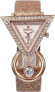 healthwen Relojes de lujo con banda de cuero para mujer, superficie geométrica de diamantes de imitación, moda informal, v...