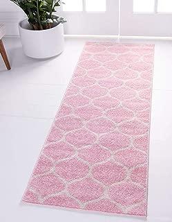 Unique Loom Trellis Frieze Collection Lattice Moroccan Geometric Modern Pink Runner Rug (2' 0 x 6' 0)