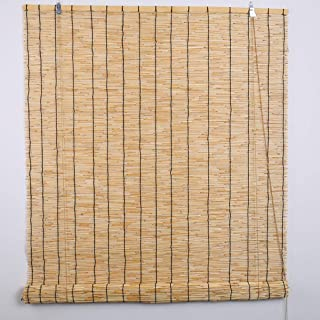 Hand-Woven Natural Reed Curtains, Roman Blinds Louver Window Bamboo Roller Blind Home Decorations, Waterproof Sun Shade (Size can be Customized)