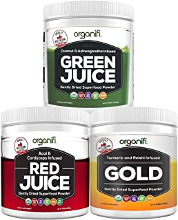 Organifi: Sunrise to Sunset Power Box (9.5 Oz. Each) - Superfood Powder - Green Juice, Red Juice, Golden Milk- 30-Day Supply - Organic - Vegan - Immunity Support - Boosts Metabolism, Energy, and Sleep