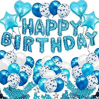 iZoeL iZoeL Geburtstagsdeko Blau für Jungen Mädchen Happy Birthday Girlande 40pcs Konfetti Luftballons Herz Stern Folienballon Kindergeburtstag Deko