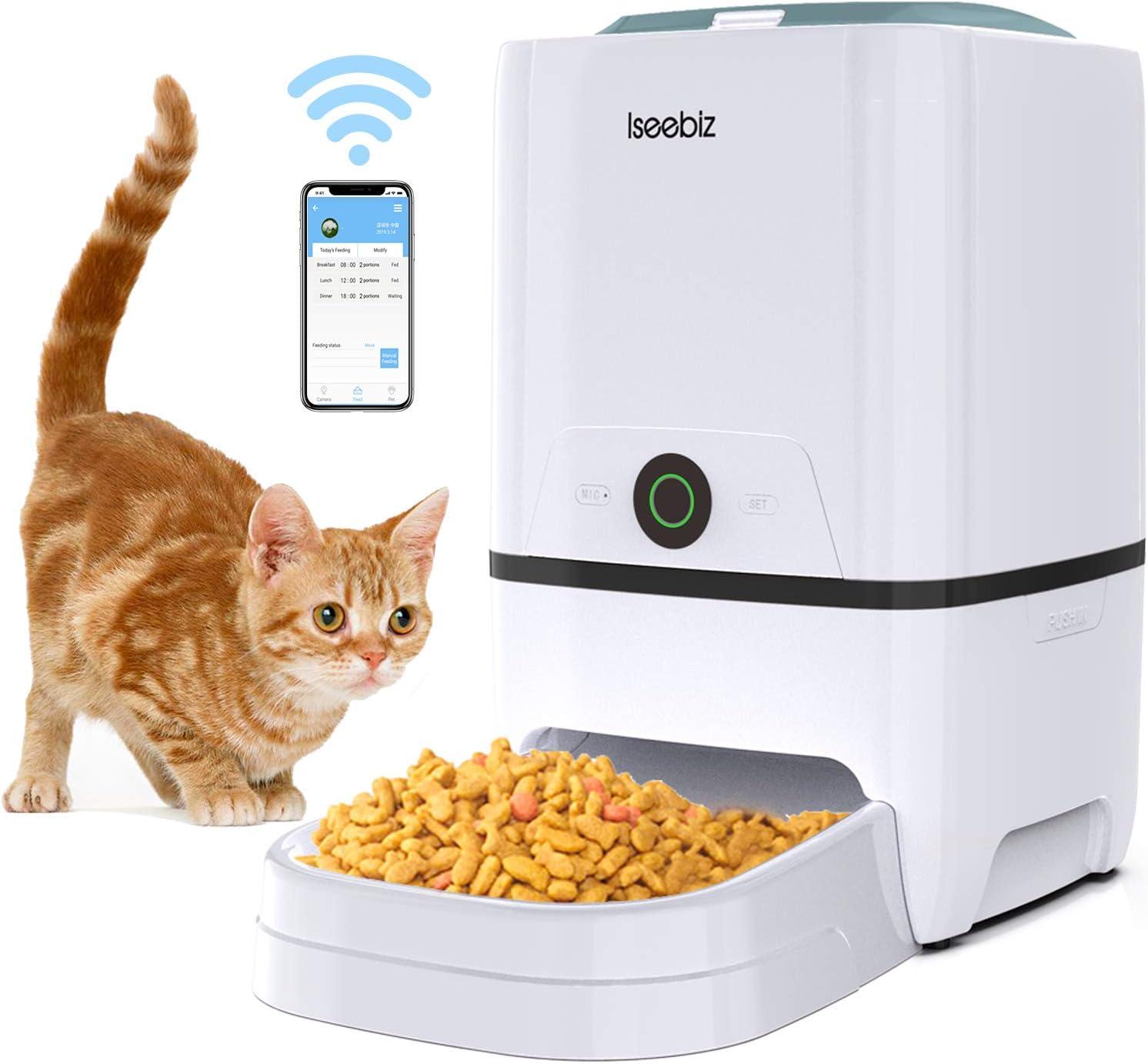 comedero automático para gatos, con cámara y micrófono comida a distancia color blanco