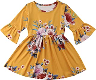 37d5f88052d8 Toddler Kids Baby Girl Ruffle 3/4 Long Flare Sleeve Floral Party Dresses  Clothes