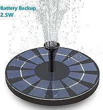 Hiluckey Solar Bird Bath Fountain with Battery Backup, 2.5W Free Standing Solar Powered Water Fountain Pump Kit for Birdbath Garden Outdoor