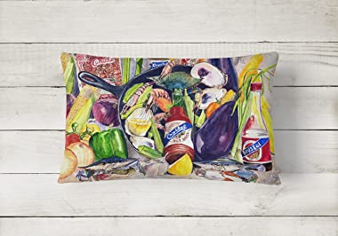 Caroline's Treasures 8641PW1216 Crystal Hot Sauce with Camellia Beans and Black Skillet Canvas Fabric Decorative Pillow,