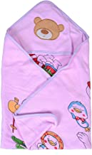 SHOP FRENZY Kids Baby Hooded Muslin Blanket Cum Security Wrapper Multi Color Printed Soft (0 to 1 Year)