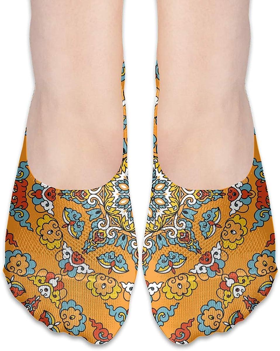 No Show Socks Women Men For Vintage Texture Indian Arabic Flats Cotton Ultra Low Cut Liner Socks Non Slip