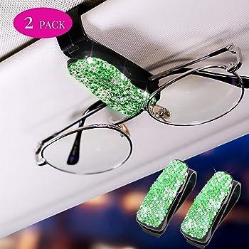 Otostar Finest Bling Diamond Glasses Holders for Car Sun Visor Sunglasses Eyeglasses Mount with Ticket Card Clip Pink
