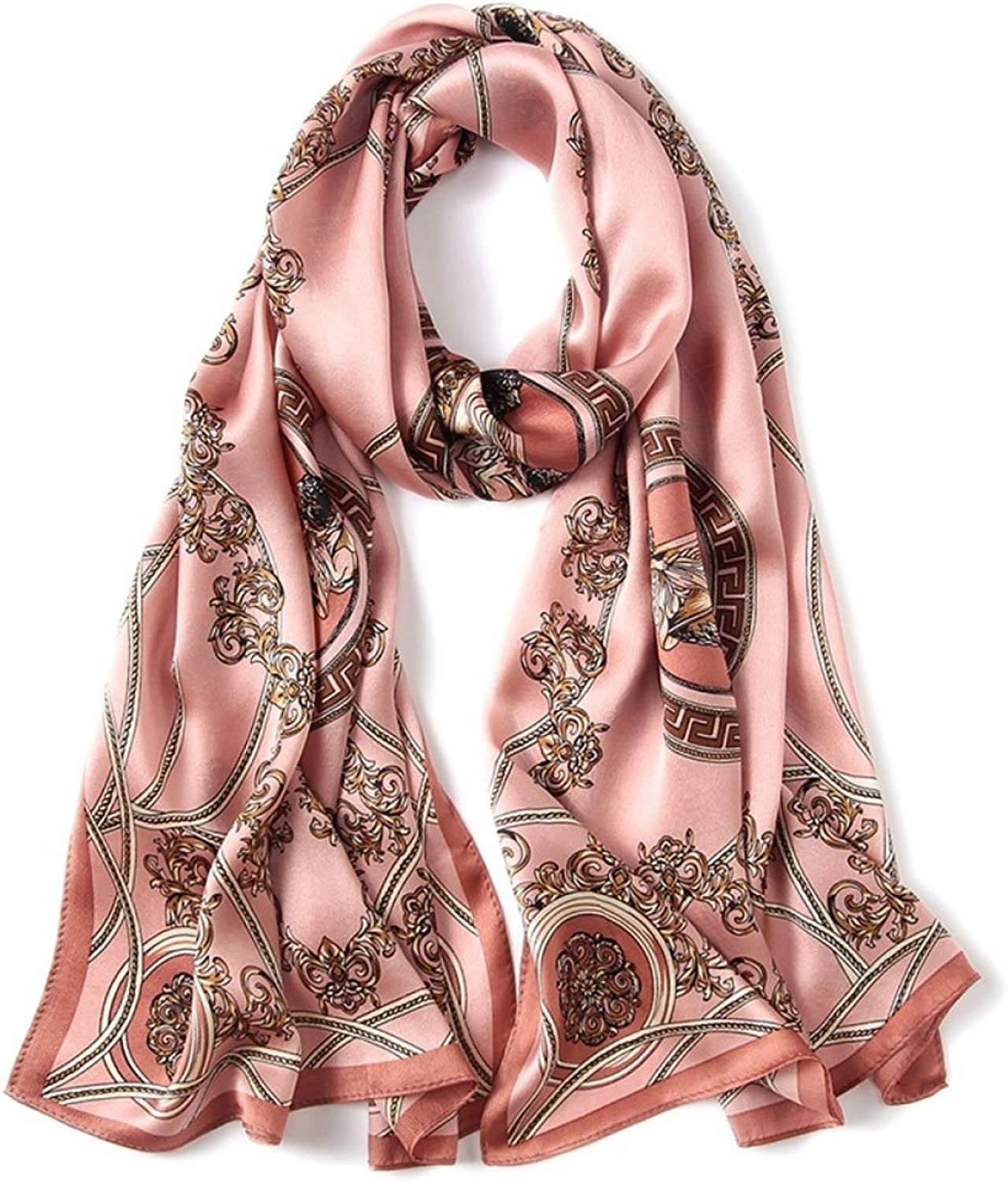 GAO Silk scarf Print Embroidery Embroidery Silk scarf Satin 100% silk silk scarf Sunscreen shawl Beach towel (length  170  50cm, Packing of 1) (color   C)