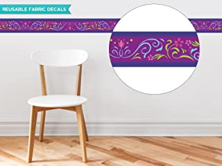 """Sunny Decals Frozen Inspired Border Fabric Wall Decal (Set of 2), 25"""" x 4"""", Purple"""