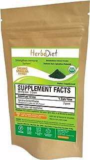 Spirulina 500mg Organic Powder | Rich in Beta-Carotene (Vitamin A) and B-12 | Immune Support, Natural Multivitamin, Green ...