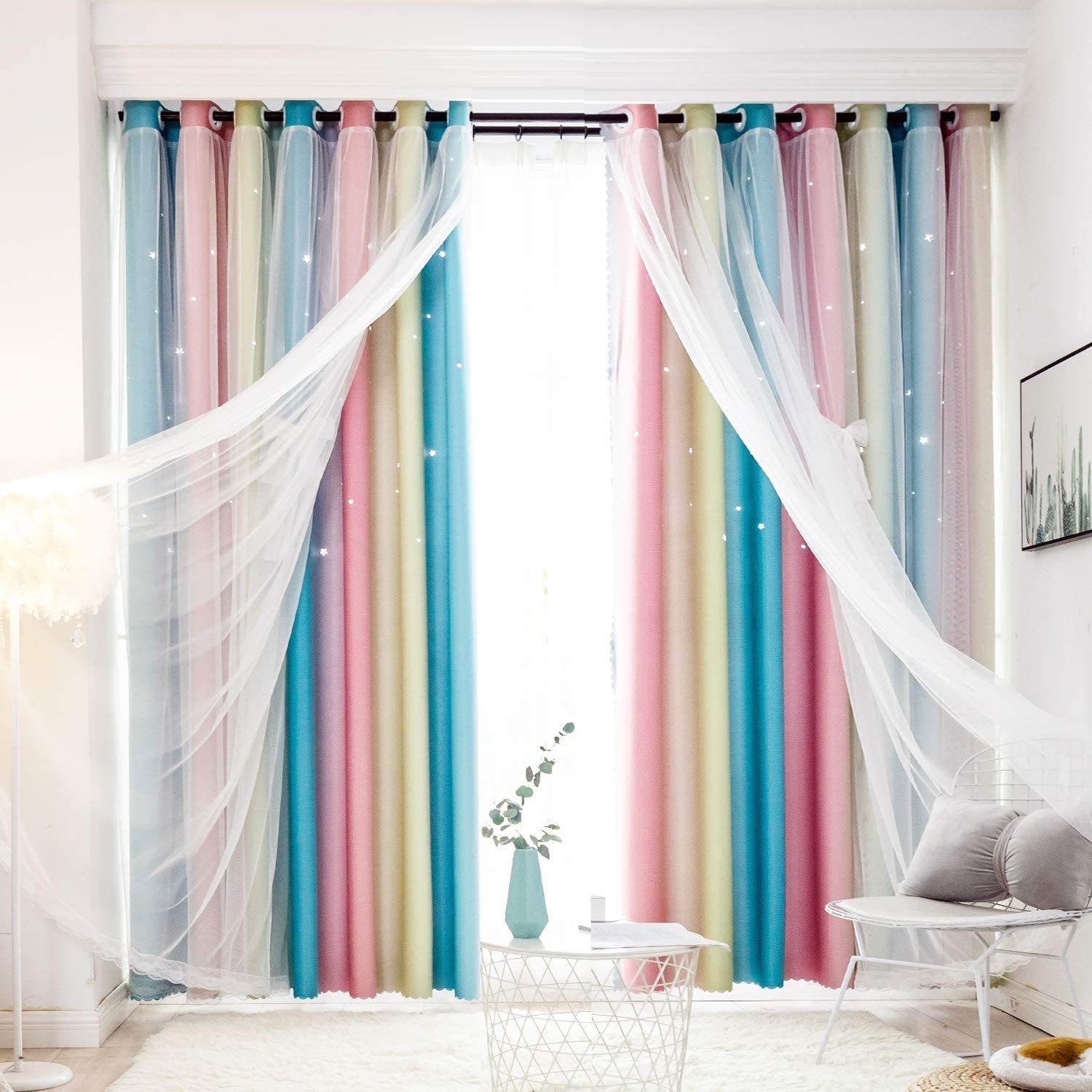 Unistar Blackout Stars Kids Classic Curtains Girls Bedroom for Quality inspection Colorful