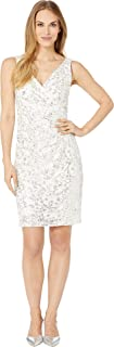 Womens Sleeveless V-Neck Cocktail Dress with Side Pleats
