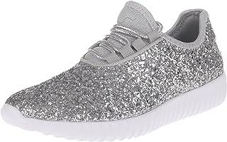 Enimay Women's Glitter Fashion Sneaker Classic Lace-up Mesh Running Shoe
