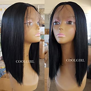 Coolgirl Short Bob Hair Synthetic Lace Front Wigs Heat Resistant Synthetic Wigs with Baby Hair for Women Black Hair