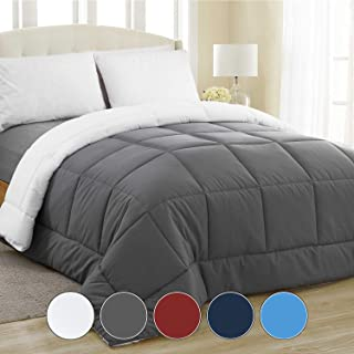 Equinox All-Season Charcoal Grey/White Quilted Comforter - Goose Down Alternative - Reversible Duvet Insert Set - Machine Washable - Plush Microfiber Fill (350 GSM) (Twin - 68 x 86 Inches)
