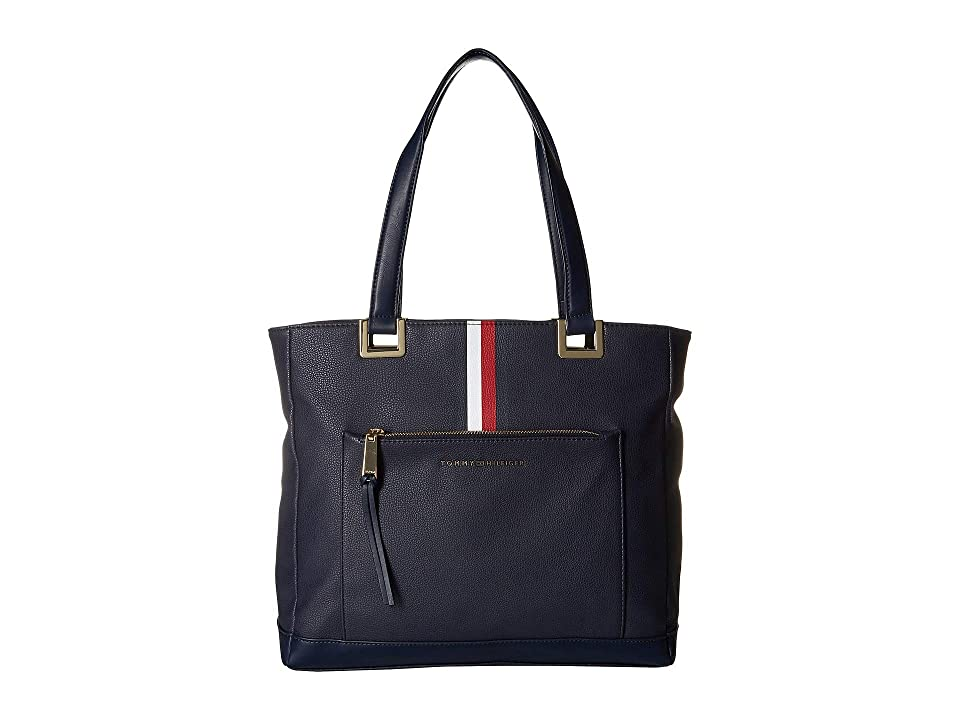 Tommy Hilfiger Althea Pebble PVC Tote (Tommy Navy) Handbags