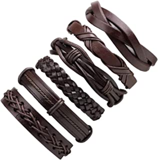 Artworkwe 6pcs Brown Braided Leather Bracelet for Men Women Cuff Wrap Wristband Set Gift