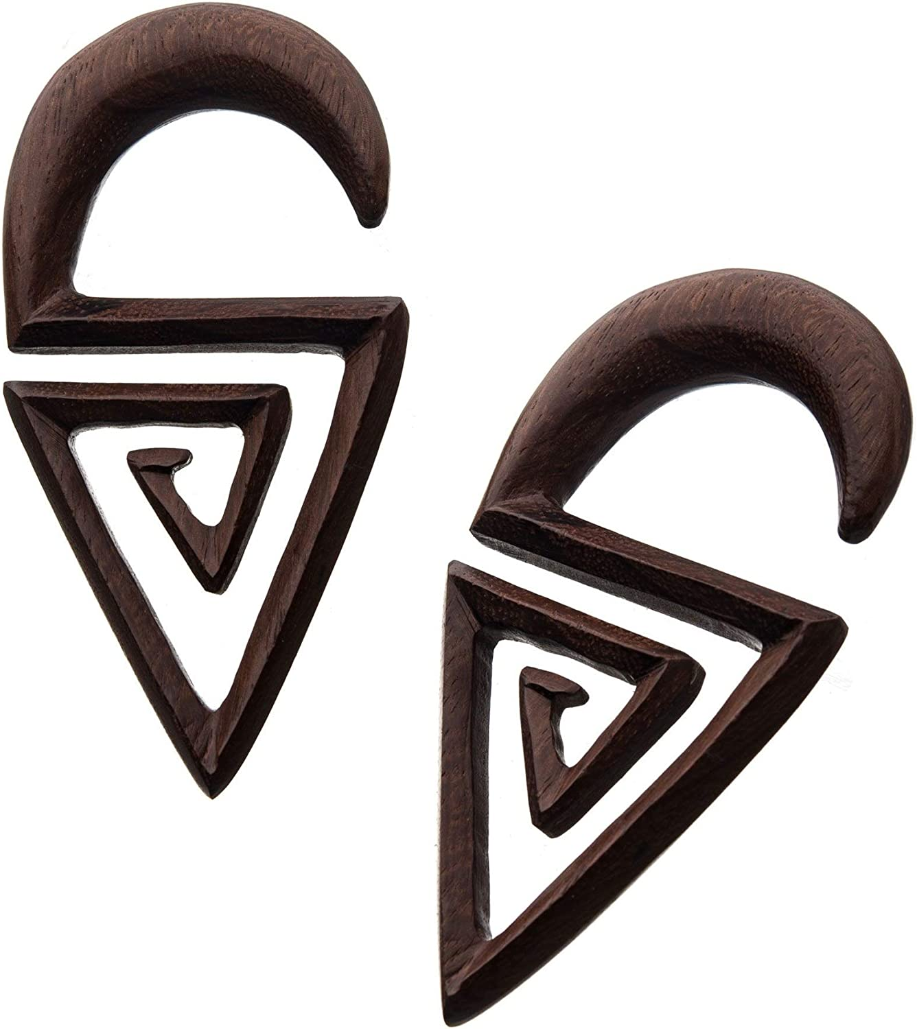 Pierced Owl Hand Carved Sono Wood Aztec Triangle Spiral Hanger Plugs, Sold as a Pair
