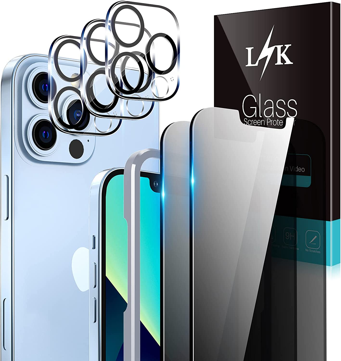 LϟK 2 Pack Privacy Screen Protector Compatible for iPhone 13 Pro 5G 6.1 inch with 3 Pack Camera Lens Protector [Not for iPhone 13] Tempered Glass Film, Case Friendly, Installation Tray