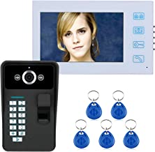 Videodeurtelefoon, intercom, 7-inch bedrade videodeurbel, lcd-monitoren + nachtzichtbeveiligingscamera, RFID-vingerafdruk ...
