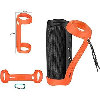 Funda de silicona premium para altavoz Bluetooth JBL Flip 5 con funda de transporte de viaje de silicona duradera con mosquetón extra (naranja)