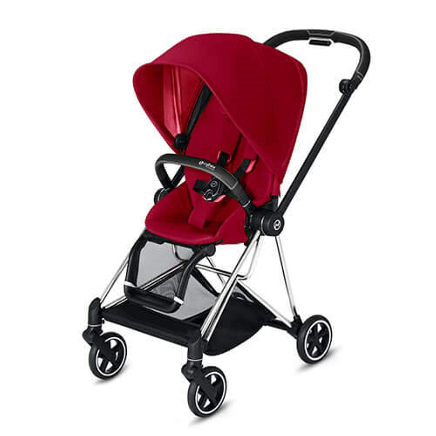 Cybex Mios 2 Complete Stroller, One-Hand Compact Fold, Reversible Seat, Smooth Ride All-Wheel Suspension, Extra Storage, Adjustable Leg Rest, True Red Seat with Chrome/Black Frame