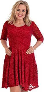 Womens Plus Size Dress Ladies Skater Style Floral Lace Bridesmaid Dress Flared Party Wear Round Neck