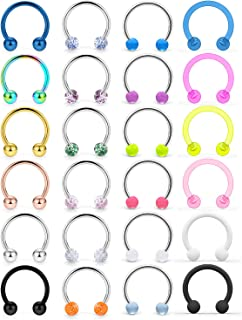 Cisyozi 16G Surgical Steel Horseshoe Nose Septum Rings Piercing Jewelry Cartilage Helix Tragus Earring Hoop Lip Horseshoe ...