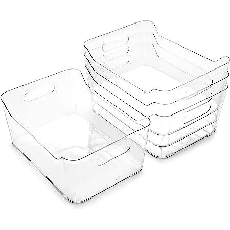 BINO | Plastic Storage Bins, Large - 4 Pack | The SOHO | Multi-Use Organizer Bins | Built-in Handle | BPA-Free | Pantry Organization | Home Organization | Fridge Organizer | Freezer Org