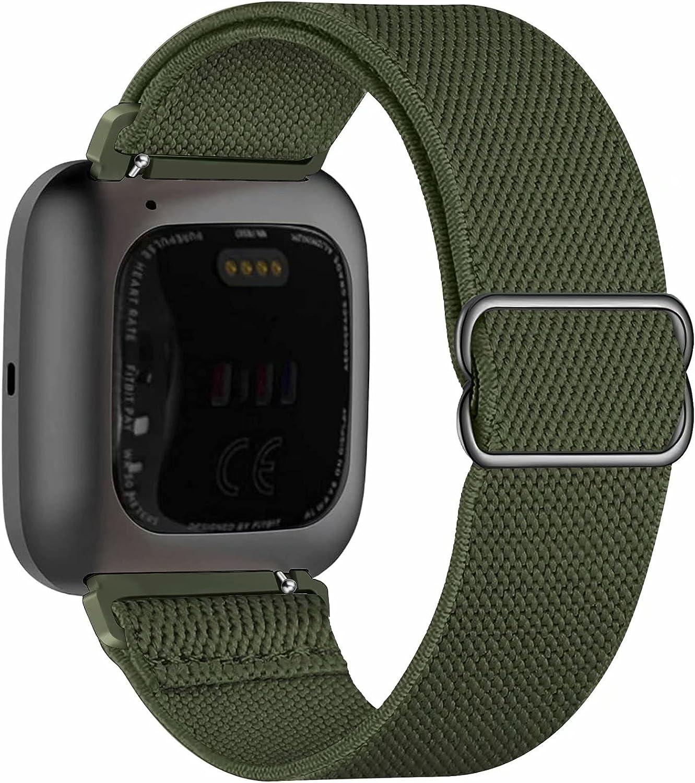 Fengyiyuda Nylon Correa Compatible con Fitbit Versa 2/Versa/Versa Lite/Versa SE,Elástico Bandas Suaves para Relojes Inteligentes, Seporte Hebillas Ajustables,correas de repuesto,Pure Army Green