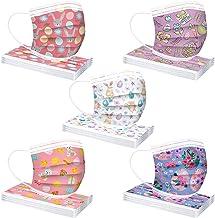 TEGT 50 stuks wegwerp-mondbeschermers, kinderprint, adembescherming, gezichtsbescherming, neusbescherming, zijde, ademend,...