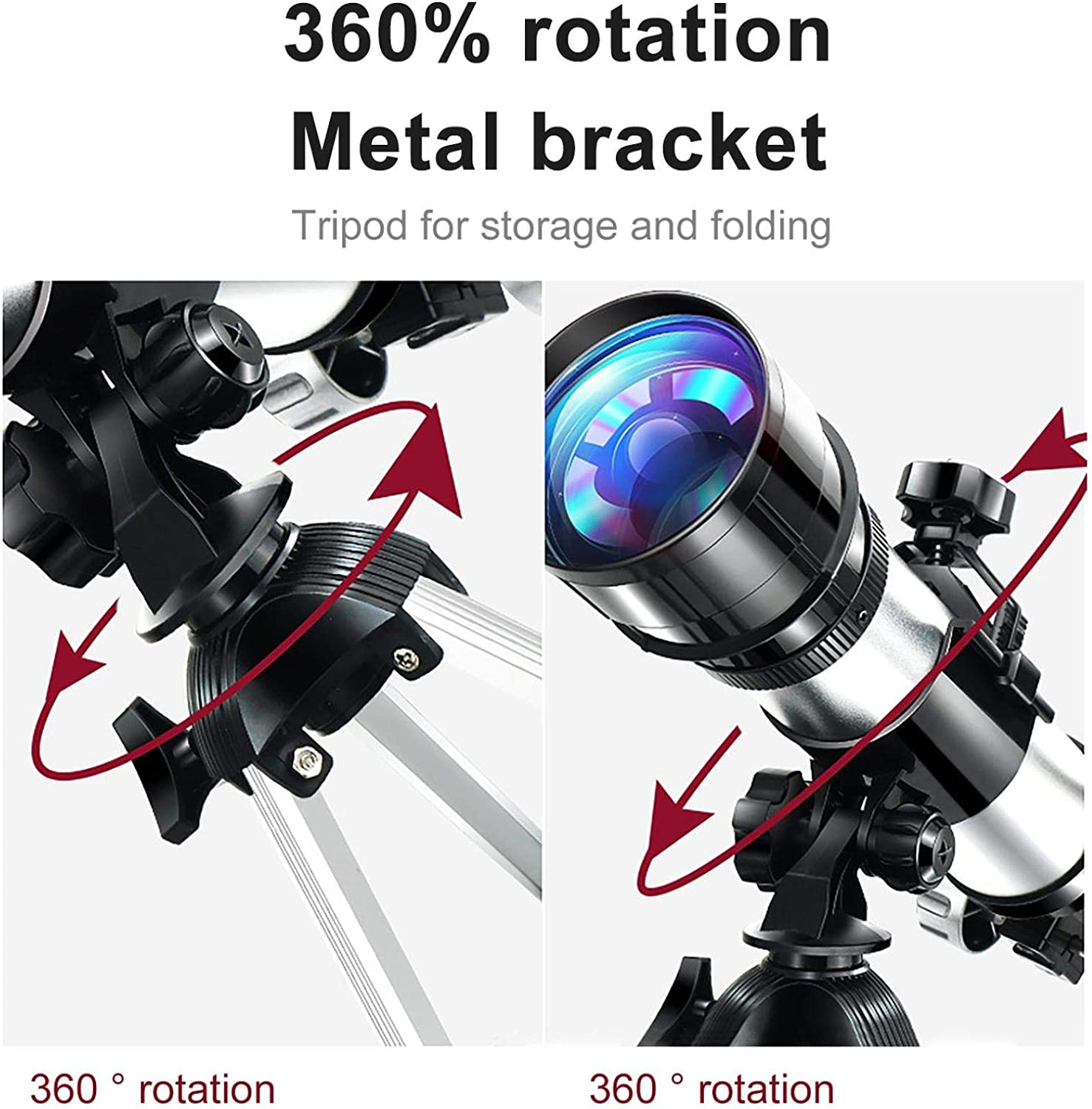 70mm Aperture Astronomical Refractor Travel Telescope with Tripod Astronomy Beginners Telescopes Gifts Astronomy Telescopes for Beginners /& Kids /& Adults Black